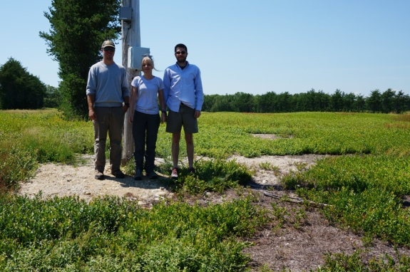 The team -- Joel Whitney (MSIS student and Cherryfield field manager), Silvia Nittel (faculty), J.C. Whittier (Phd student)