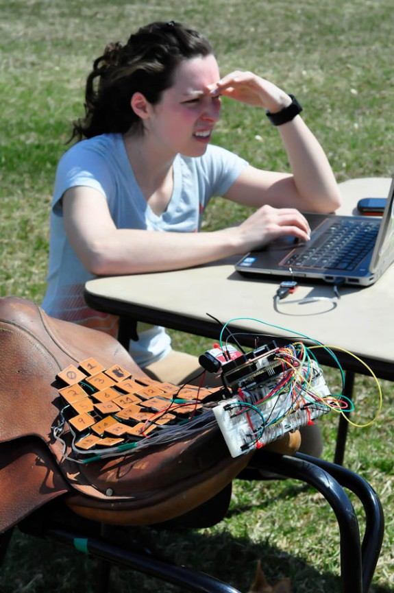 Jennifer checking the live sensor network.
